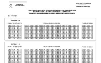 Plantillas examen Guardia Civil 2020